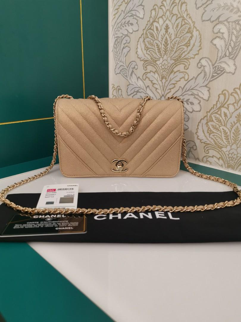 #28 Almost New Chanel Mini Flap Beige Gold color Caviar with light GHW