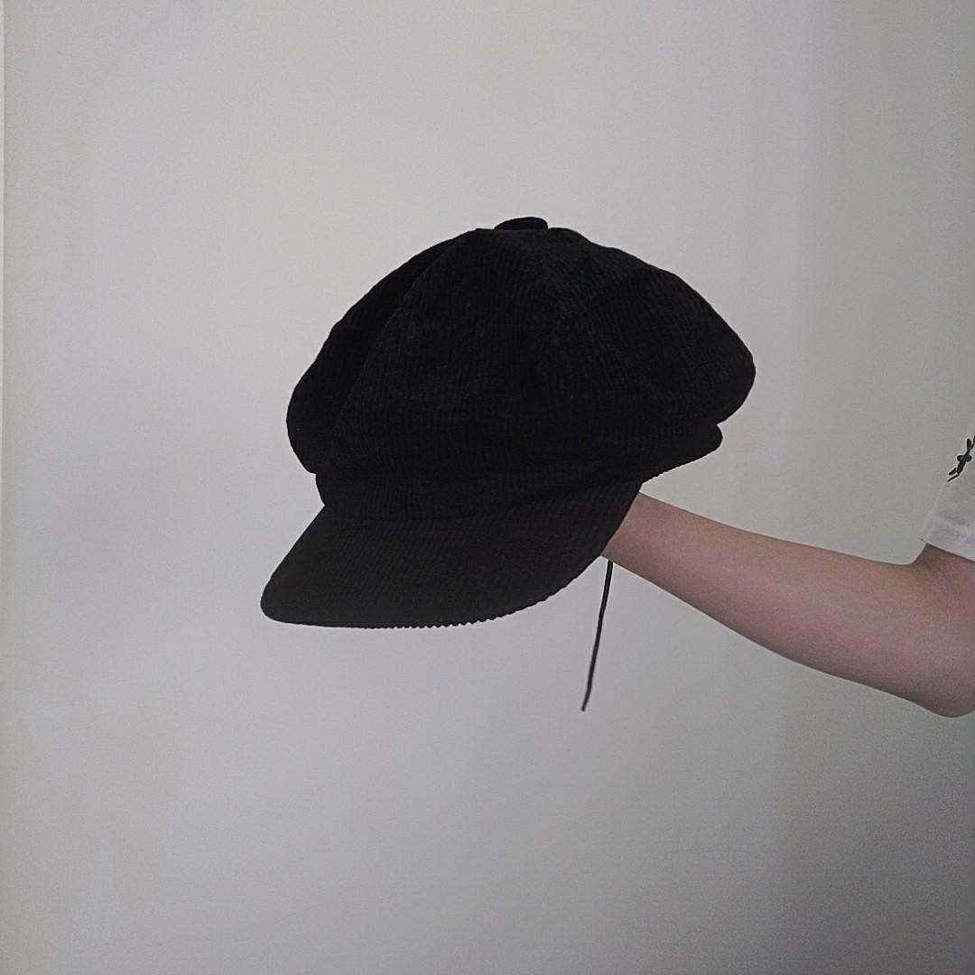 質感燈芯絨貝雷帽 黑色穿搭 畫家帽英倫感 男女可戴