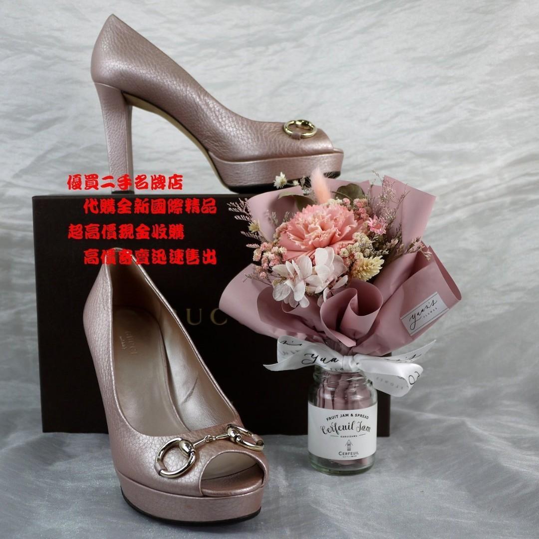 ☆優買二手名牌店☆ GUCCI 金色 金屬 馬銜 珍珠光 香檳紫 全皮 厚底 厚跟 高跟鞋 包鞋 露趾 魚口鞋 全新展示