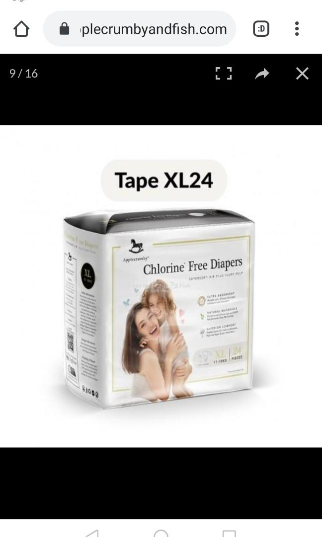 Applecrumby XL tape diapers. Triple pack for RM90!