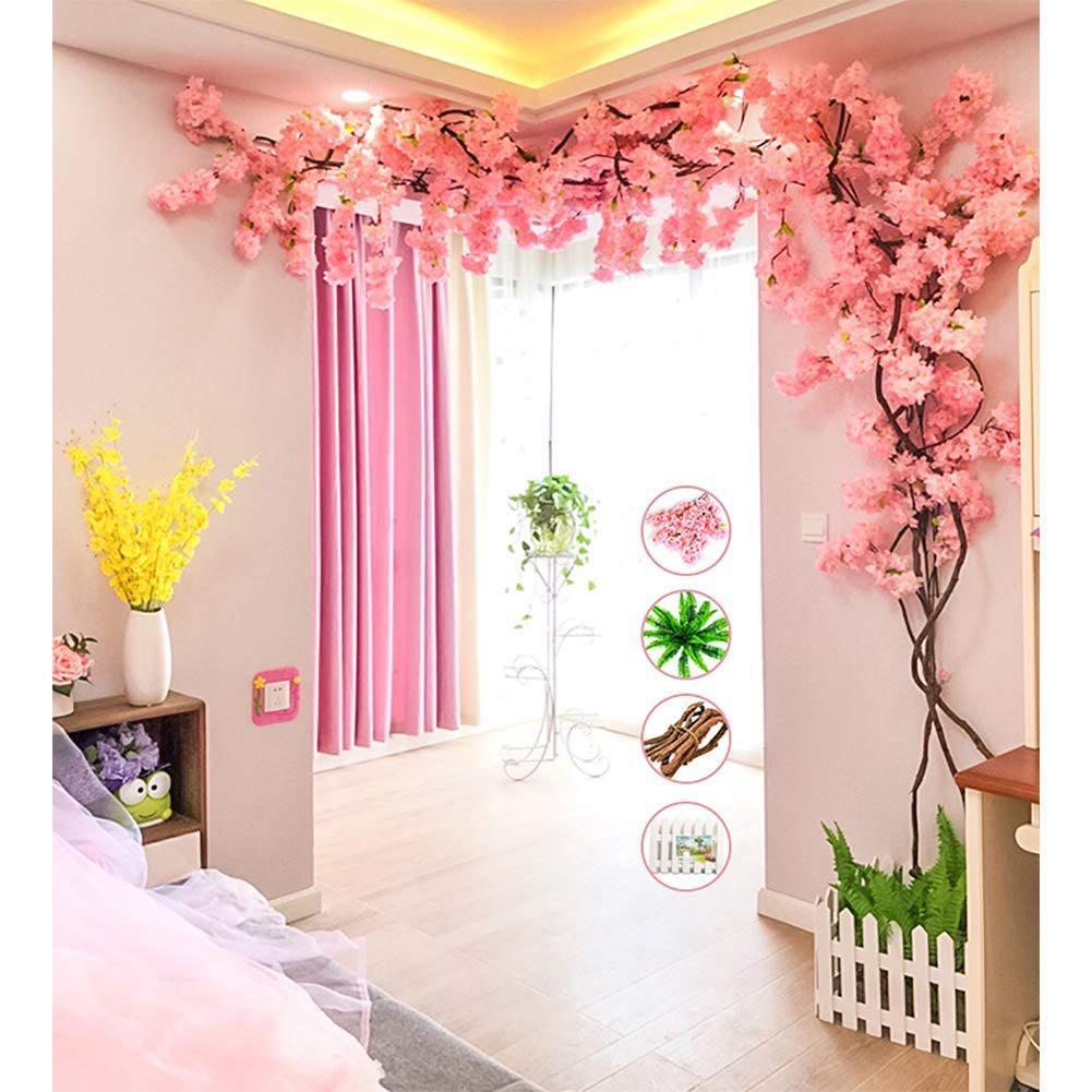 Artificial Cherry Blossom Trees Light Pink,Dark pink , White  Cherry Blossom Tree Arch Pink Fake Sakura Flower
