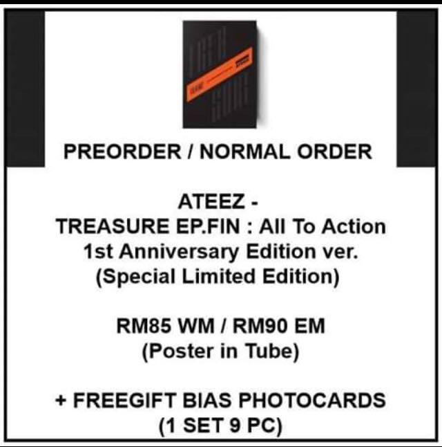 ATEEZ - TREASURE EP.FIN : All To Action 1st Anniversary Edition ver. Special Limited Edition - PREORDER/NORMAL ORDER/GROUP ORDER/GO + FREE GIFT BIAS PHOTOCARDS (1 ALBUM GET 1 SET PC, 1 SET GET 9 PC)