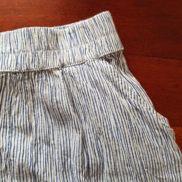 Blue striped skater skirt