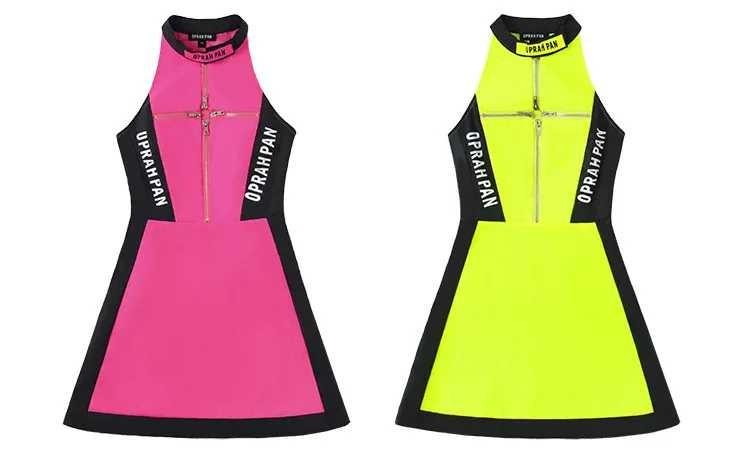 Light-Reflective Night clubbing One-Piece(Neon yellow/pink)