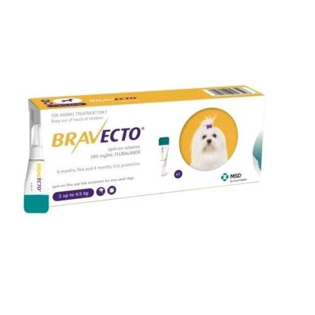 Bravecto Spot-On 112.5mg for extra small dogs 2-4.5 kg (4.4-10 lbs)-(D105-8051-CL)