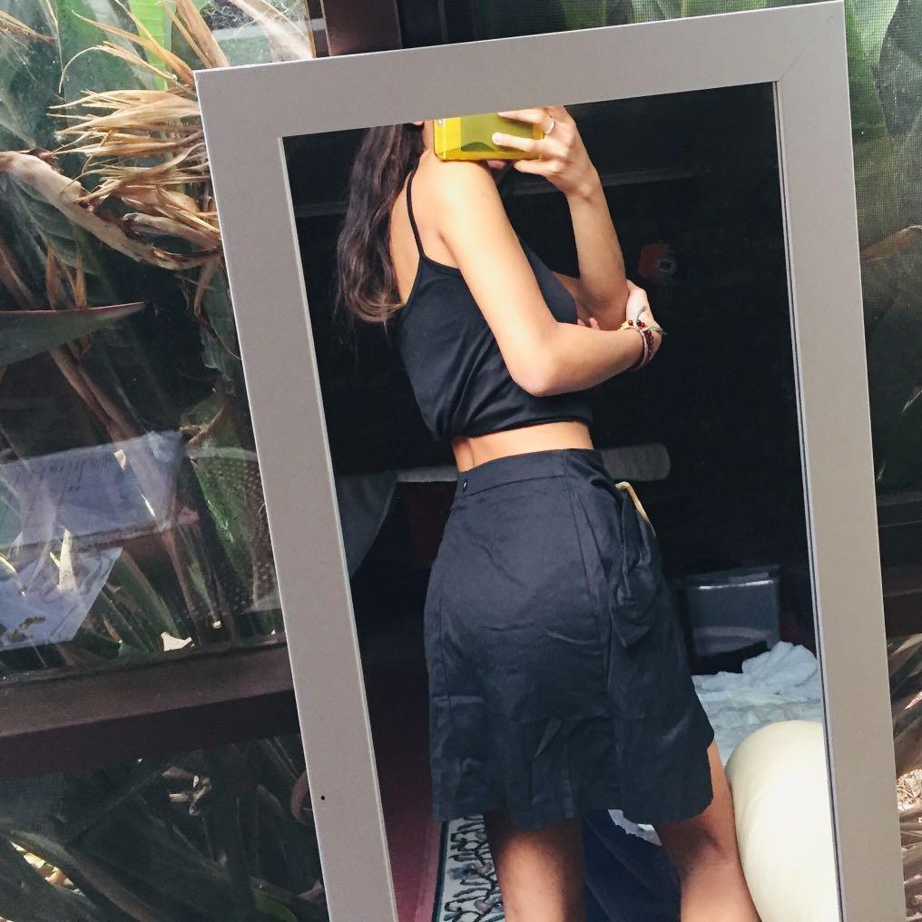 BRONZE SNAKE SHOP black asymmetrical skirt with belt