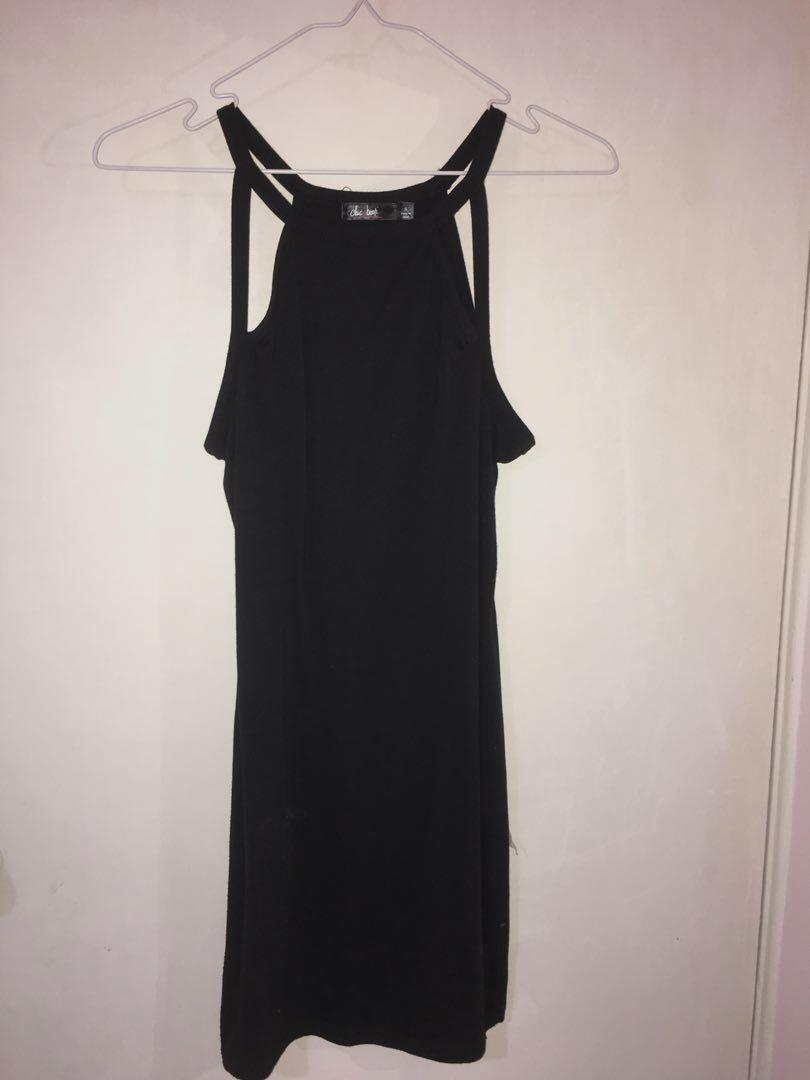 Chicabooti black dress with cutout design - black (size 8)