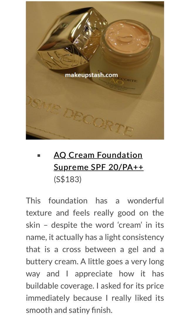 Cosme Decorte AQ supreme foundation