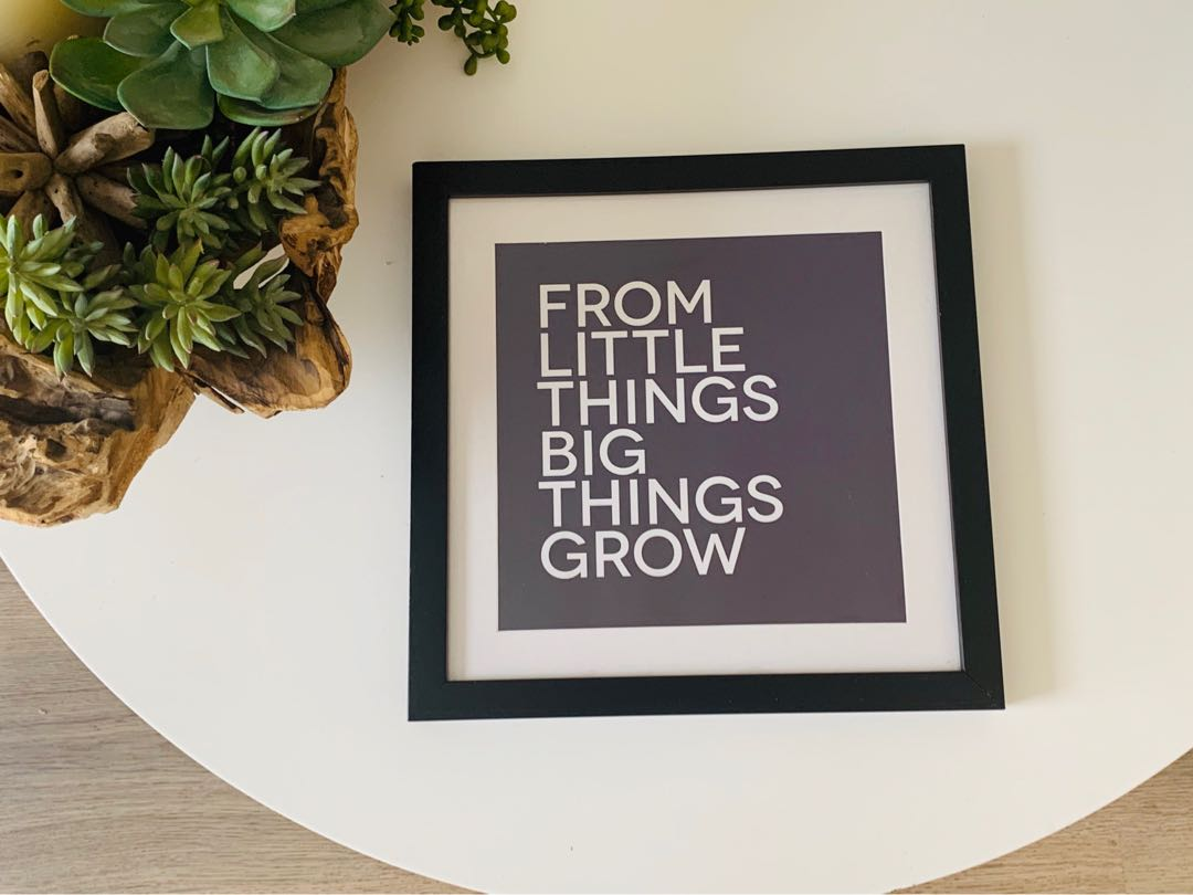 Custom Black and White boarded Quote Frame 30 x 30cm