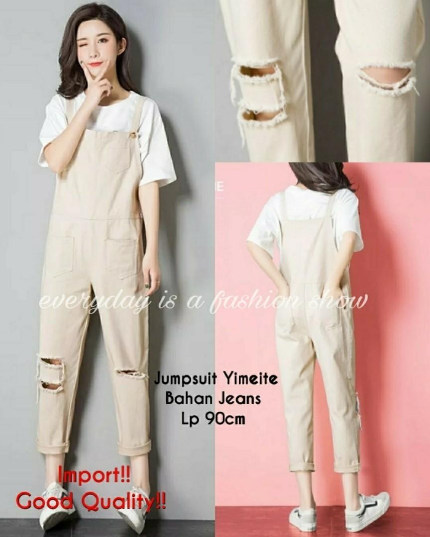 Ec Jumper Yimeite import cream l atasan fashion baju jumpsuit import jumpsit wanita