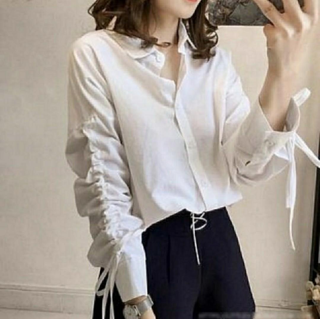 Ec KEM NINDY GREY l atasan fashion baju kem white kemeja putih wanita