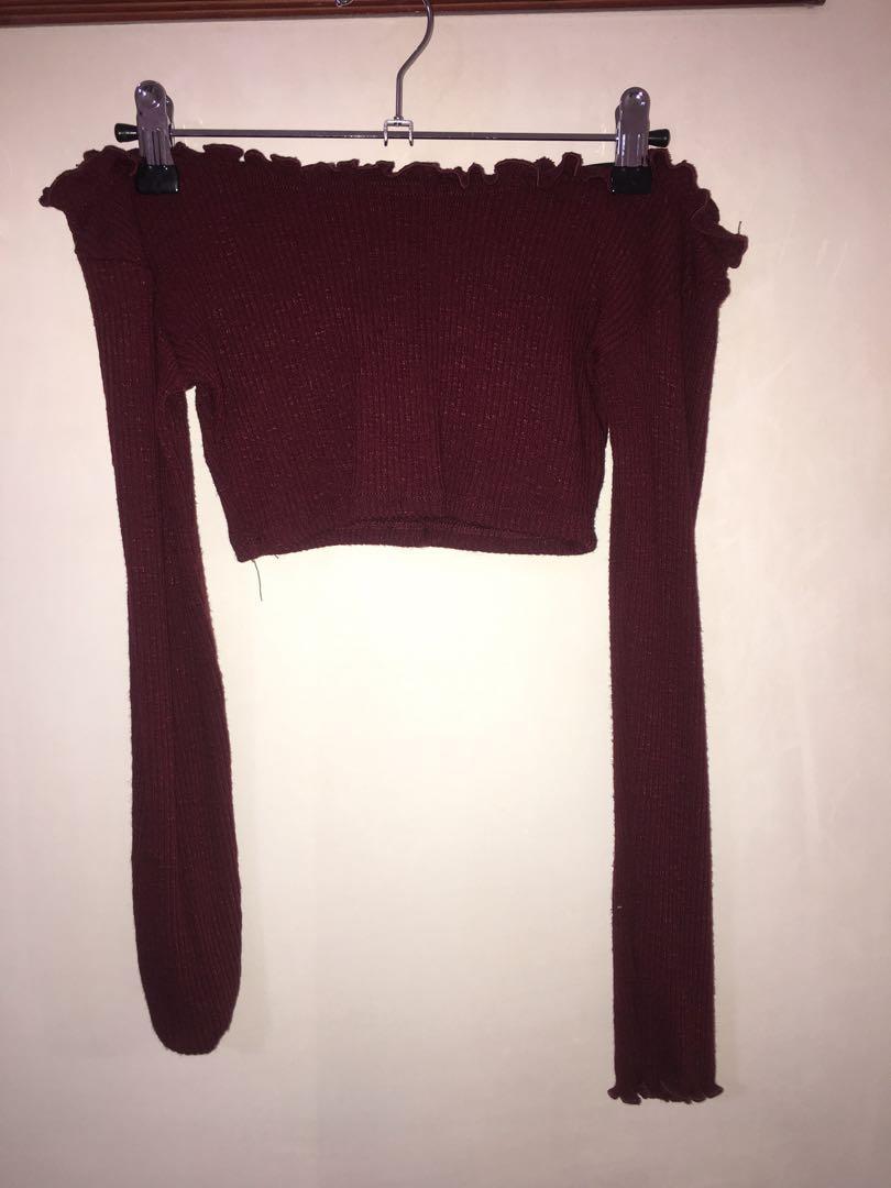 Fashion Nova off the shoulder long sleeve crop - burgundy (size S)