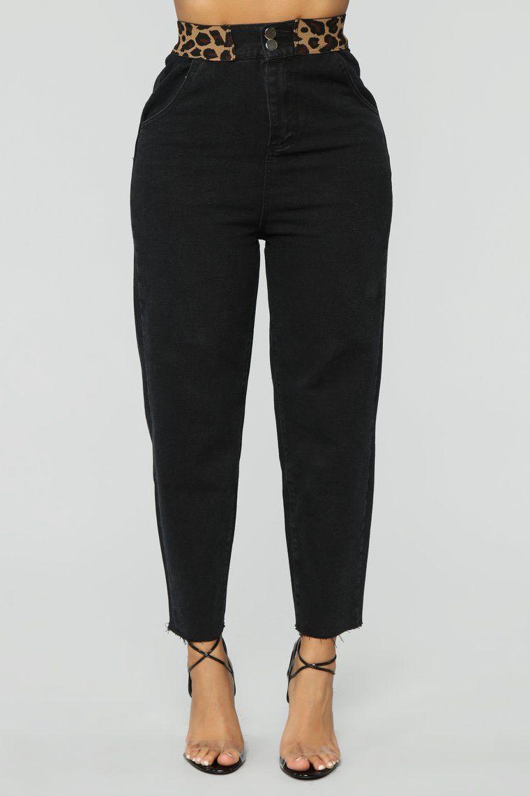 Fashionnova Black Boyfriend Jeans with Leopard Waist