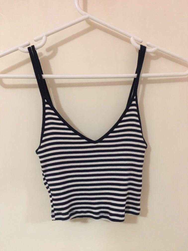 Forever 21 striped navy cami crop top - navy and white (size 6-8)