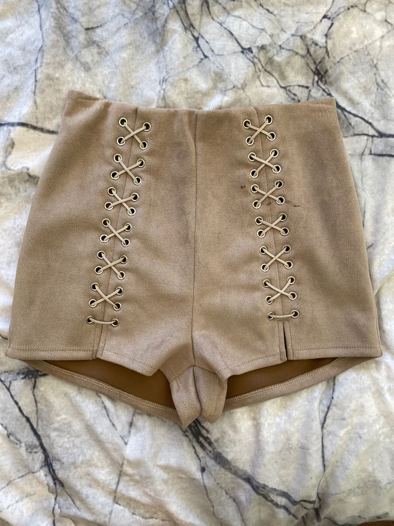 FREE POSTAGE - Beige suede shorts - size 8 - small stain on right hand side