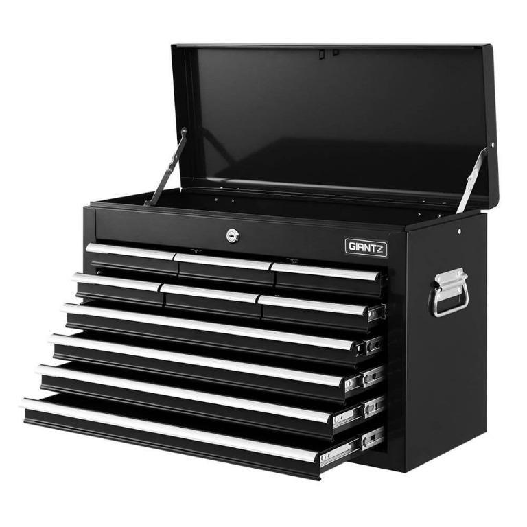 Giantz 10-Drawer Tool Box Chest Cabinet Garage Storage Toolbox Black