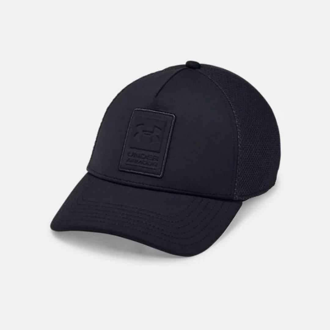 """Men's UA Sportstyle Elite Trucker Cap "" Under Armour UA 全新 黑色 方形壓紋 可調節 棒球帽 鴨舌帽 老帽 運動帽 球帽 帽子 1328651"