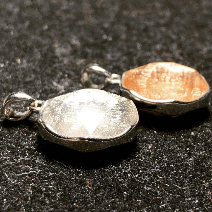 Meteorite 925 Silver Star of David ✡️ Pendant 15mm - Loket Batu Besi Bintang Angkasa