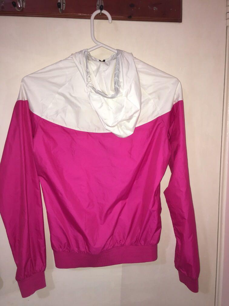 Nike hooded windbreaker jacket - pink and white (size S)