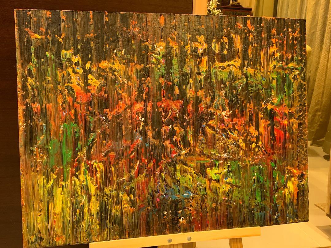 "Original Art Acrylic Wood Painting ""The Bonfire Of All Hallows Eve"""