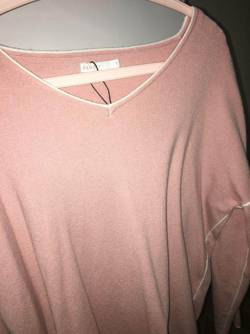 Padini Pink Knitted V-neck Top