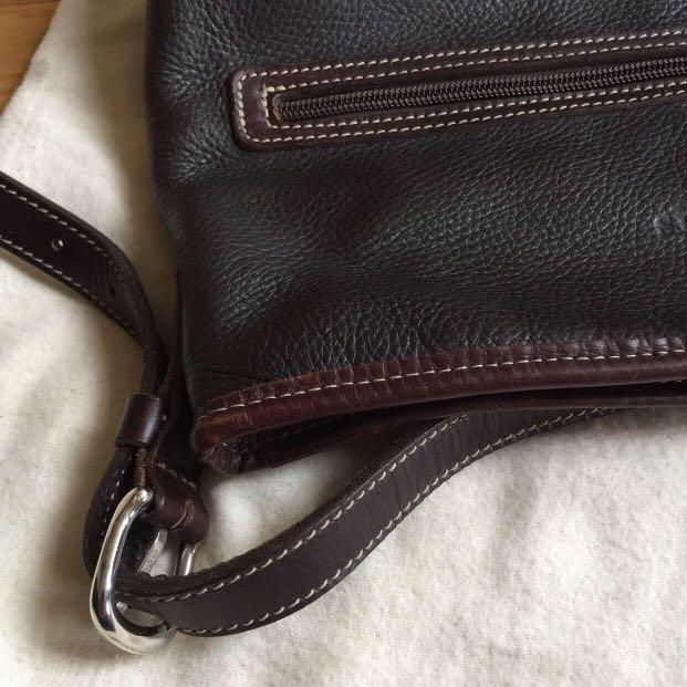 ROOTS Leather Cross-Body Bag + Adjustable Strap & Dust Bag