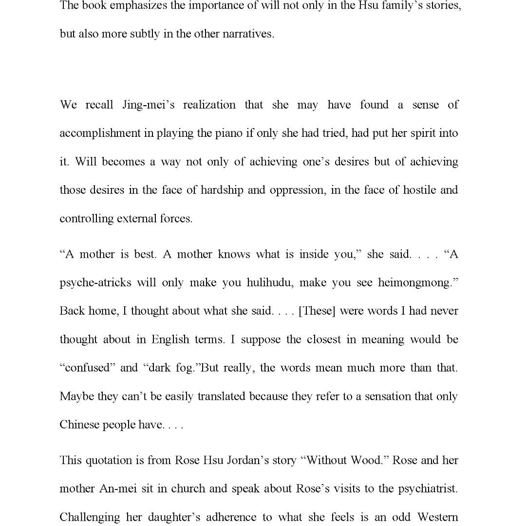 The Joy Luck Club / TJLC / Literature note