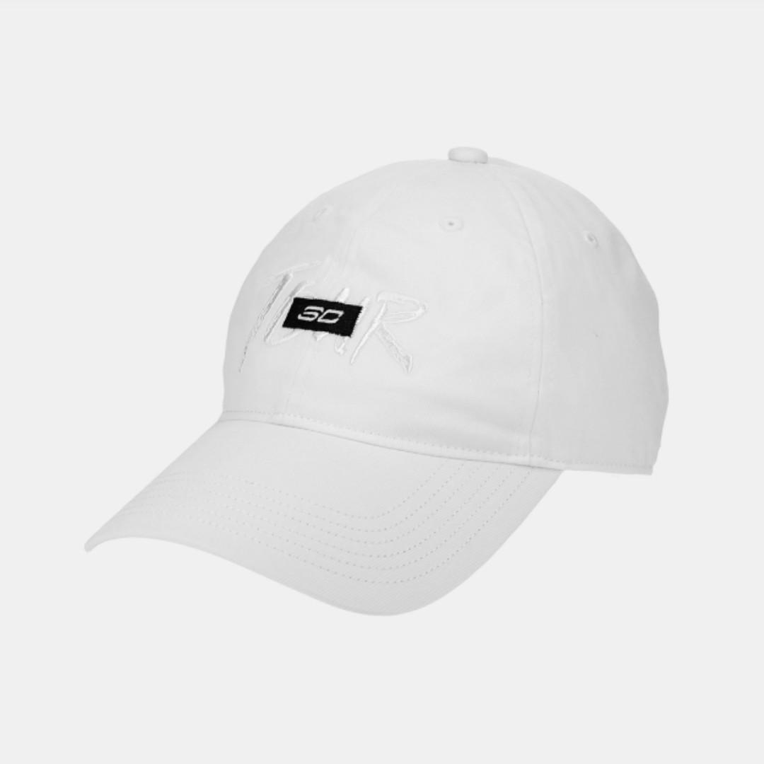 Under Armour UA 全新 白色 黑底白字 可調節 棒球帽 鴨舌帽 老帽 運動帽 球帽 帽子 1346482