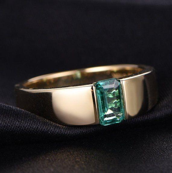 Emerald - 0.85 Carat   Unique 14KT Gold Emerald Ring   Wedding Gift   Anniversary Gift.