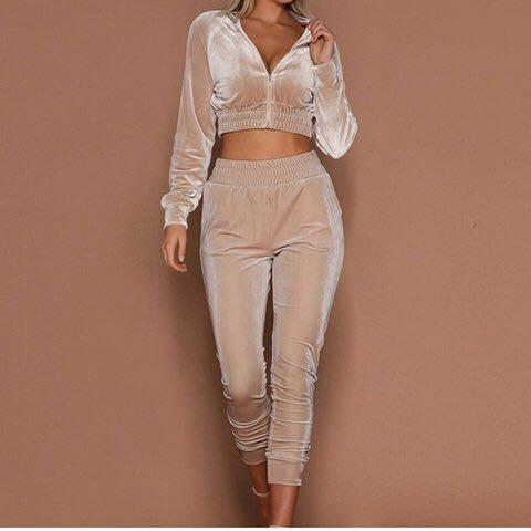Velour cropped tracksuit