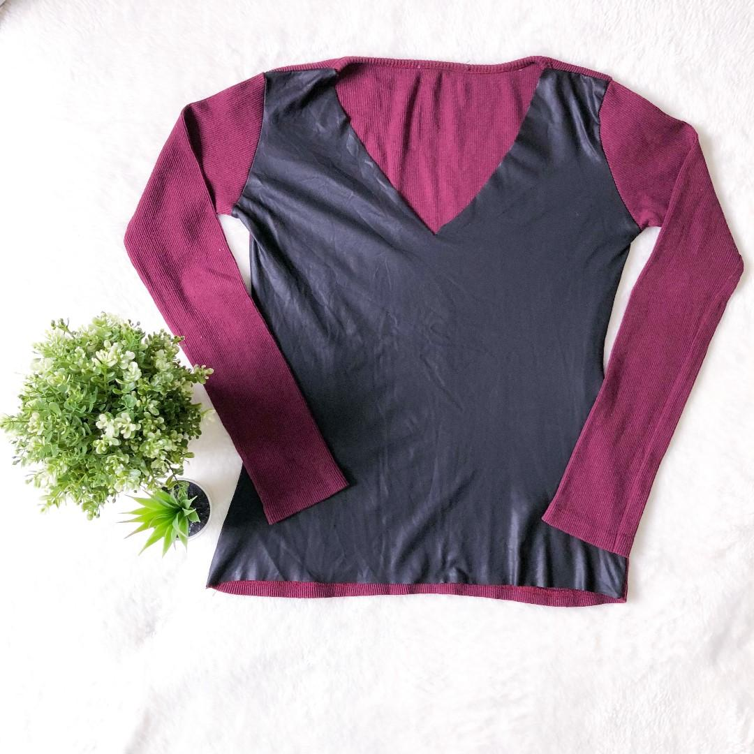 Women's TOP Size 10 Faux Leather Long Sleeve Maroon & Black Front