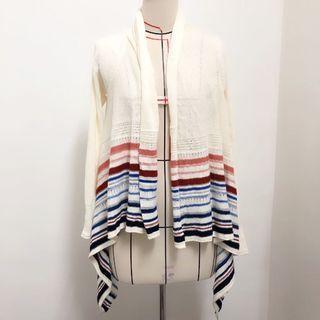 *香港品牌* edc 針織條紋配色罩衫不規則設計款外套