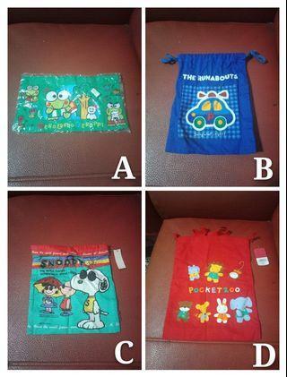 【限時優惠到10/31】(每個120元)日本束口袋出清:日本大眼蛙、可愛玩具車、SNOOPY史努比、可愛小動物圖案束口袋