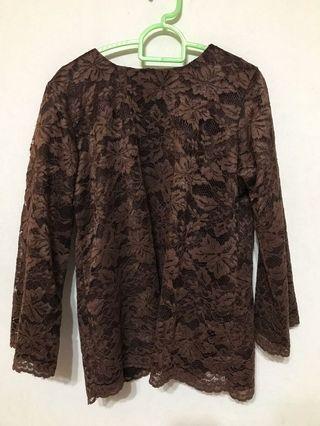 Brown lace kurung
