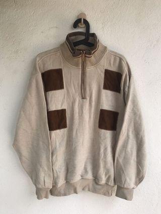 vintage style designer brown sweater zip l armani prada