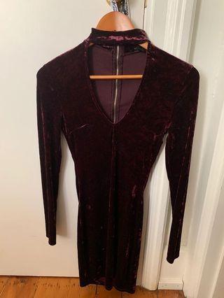 Velvet Deep Purple/Wine Choker Dress