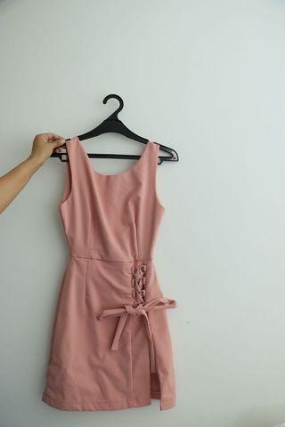 Midi pink dress - dress pink