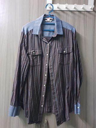PLUS SIZE SHIRT (denim & brown/blue stripe)
