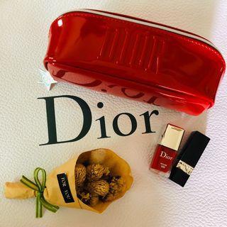 專櫃貨 全新 DIOR 迪奧Dior #999 正紅色 紅色漆皮 皮革化妝包 收納包 筆袋 眼鏡盒
