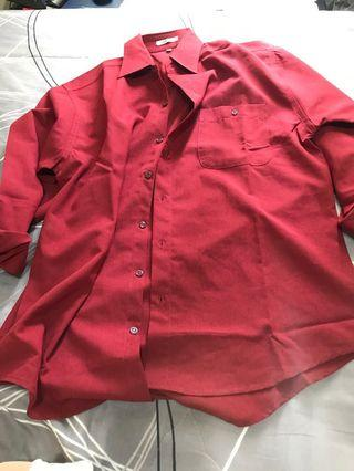 酒紅色襯衫全新品