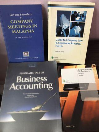 Law & Procedure on Company Meetings, secretarial practice & Business accounting