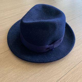 毛呢 深寶藍  側邊蝴蝶結緞帶 紳士帽 #五折清衣櫃