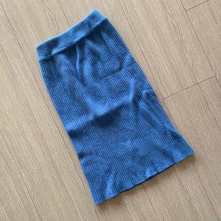 韓國小姐姐 針織 寶藍 中長裙 #五折清衣櫃