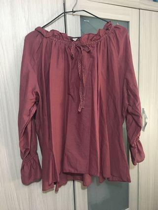 酒紅色平口上衣