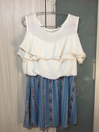 藍色碎花小洋裝