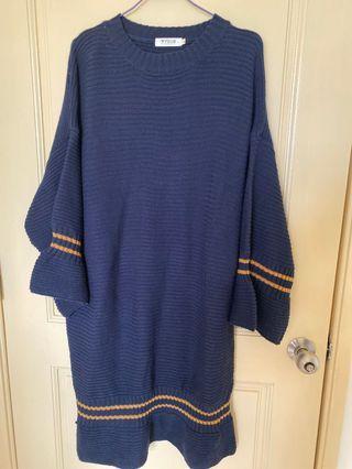 配色針織裙