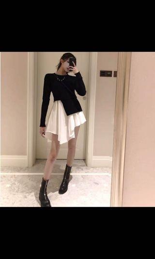 Korean style black knitted dress