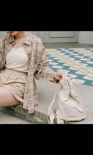 Queen shop格子棉麻襯衫