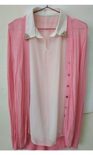 粉紅薄外套組