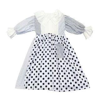 🐷預購  Remake 復古日系波點拼布大荷葉領燈籠袖黑白小圓點洋裝